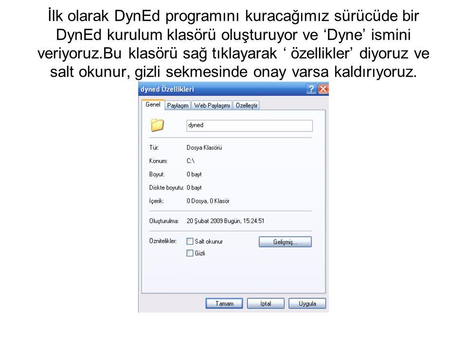 İlk olarak DynEd programını kuracağımız sürücüde bir DynEd kurulum klasörü oluşturuyor ve 'Dyne' ismini veriyoruz.Bu klasörü sağ tıklayarak ' özellikl