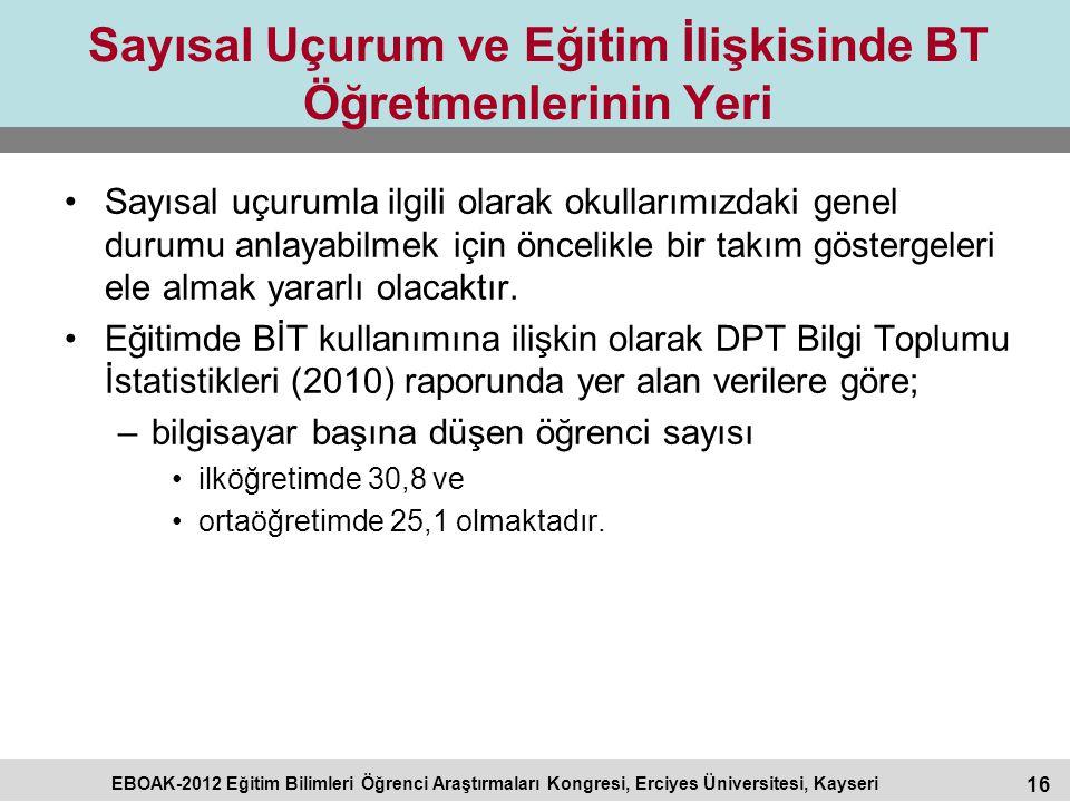 16 EBOAK-2012 Eğitim Bilimleri Öğrenci Araştırmaları Kongresi, Erciyes Üniversitesi, Kayseri Sayısal Uçurum ve Eğitim İlişkisinde BT Öğretmenlerinin Y