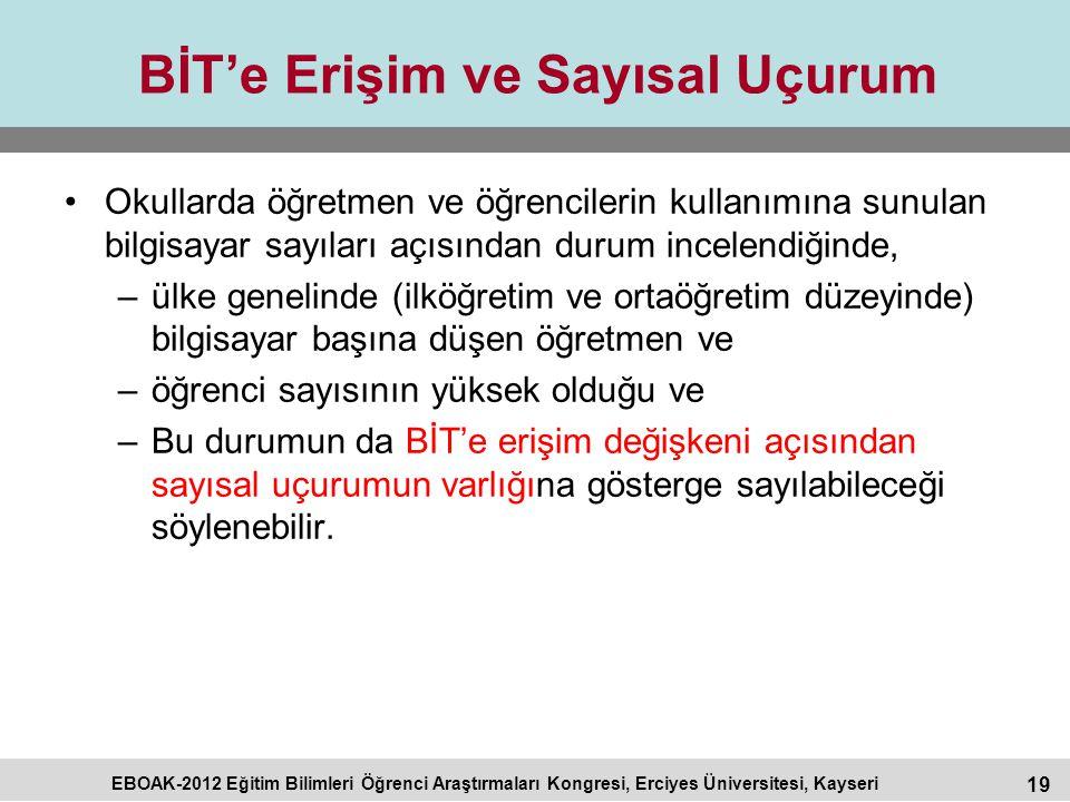 19 EBOAK-2012 Eğitim Bilimleri Öğrenci Araştırmaları Kongresi, Erciyes Üniversitesi, Kayseri BİT'e Erişim ve Sayısal Uçurum Okullarda öğretmen ve öğre