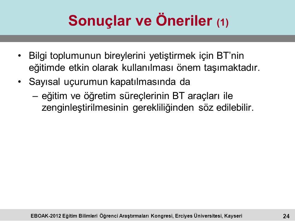 24 EBOAK-2012 Eğitim Bilimleri Öğrenci Araştırmaları Kongresi, Erciyes Üniversitesi, Kayseri Sonuçlar ve Öneriler (1) Bilgi toplumunun bireylerini yet