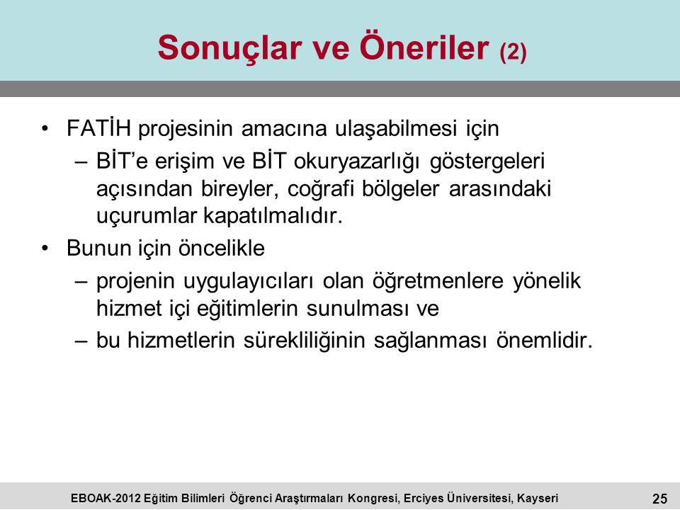 25 EBOAK-2012 Eğitim Bilimleri Öğrenci Araştırmaları Kongresi, Erciyes Üniversitesi, Kayseri Sonuçlar ve Öneriler (2) FATİH projesinin amacına ulaşabi