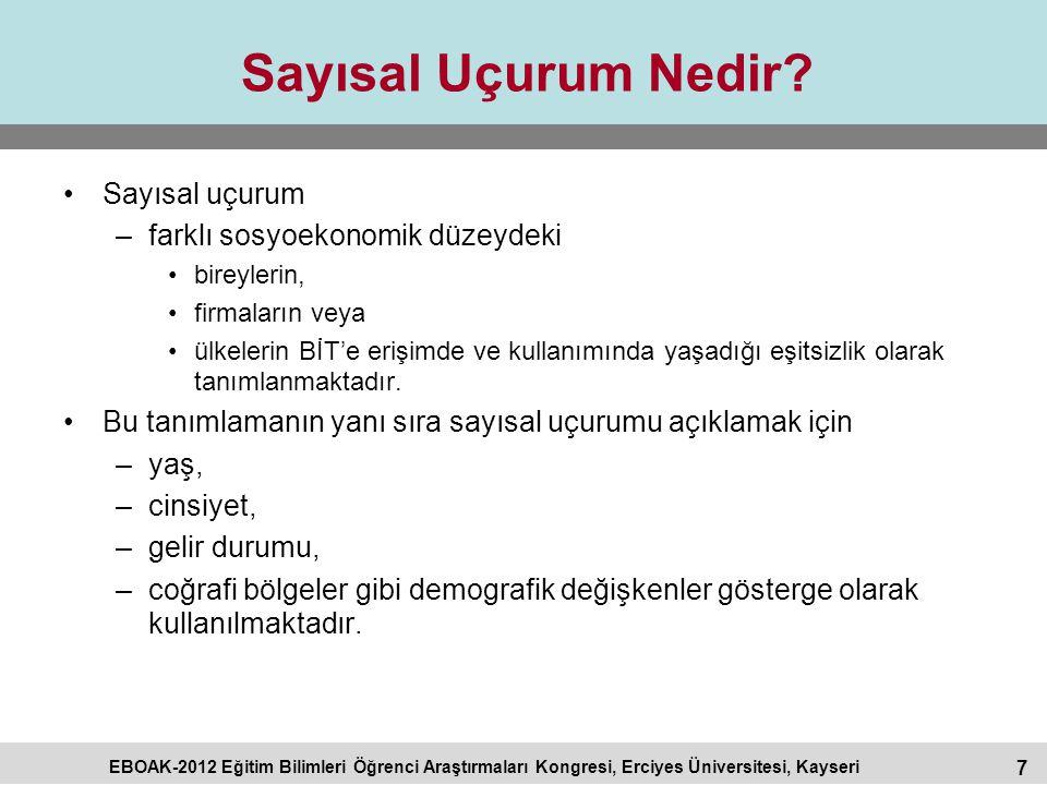 7 EBOAK-2012 Eğitim Bilimleri Öğrenci Araştırmaları Kongresi, Erciyes Üniversitesi, Kayseri Sayısal Uçurum Nedir? Sayısal uçurum –farklı sosyoekonomik