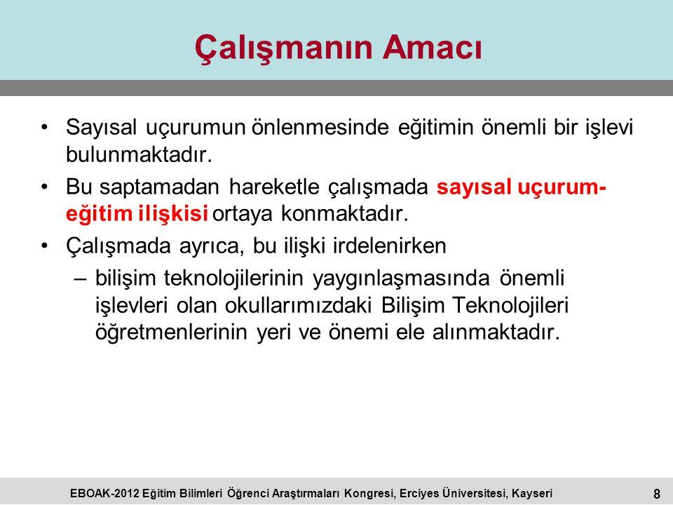 8 EBOAK-2012 Eğitim Bilimleri Öğrenci Araştırmaları Kongresi, Erciyes Üniversitesi, Kayseri Çalışmanın Amacı Sayısal uçurumun önlenmesinde eğitimin ön