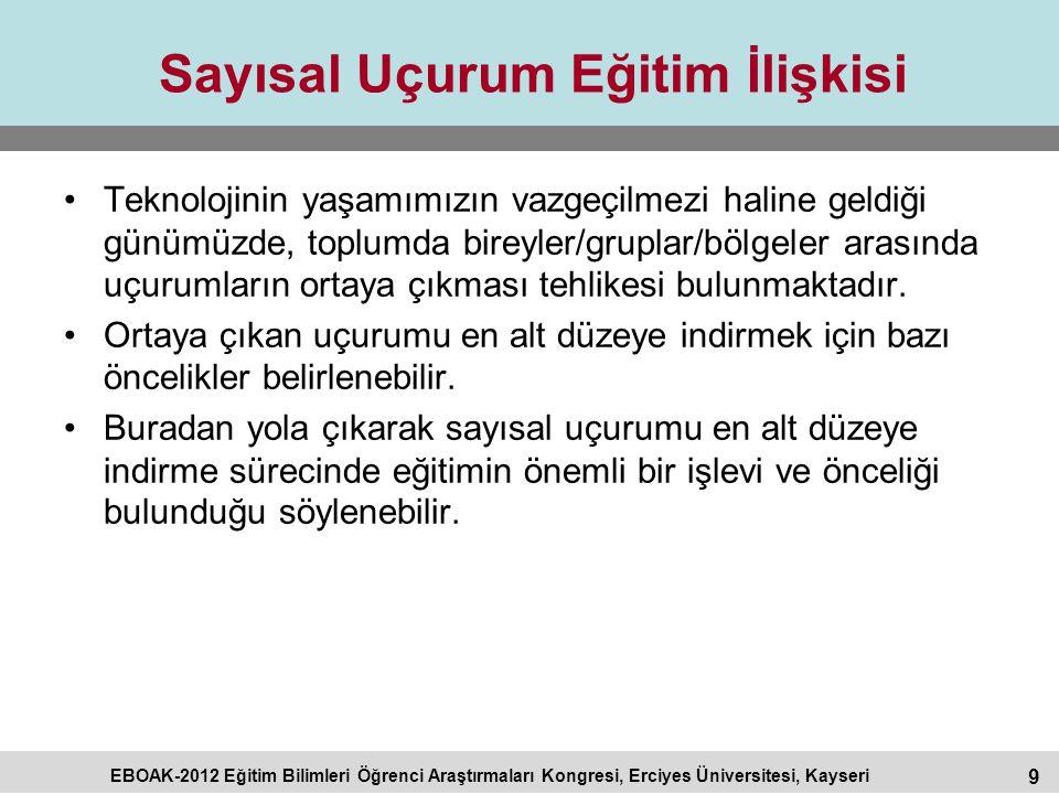 9 EBOAK-2012 Eğitim Bilimleri Öğrenci Araştırmaları Kongresi, Erciyes Üniversitesi, Kayseri Sayısal Uçurum Eğitim İlişkisi Teknolojinin yaşamımızın va