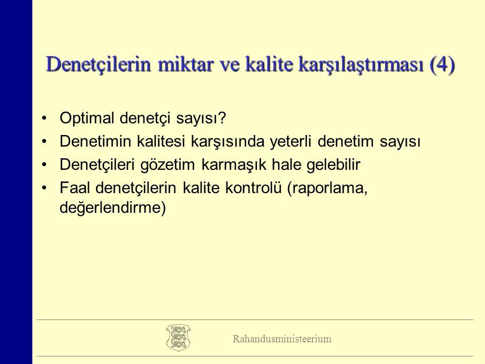 Rahandusministeerium Denetçilerin miktar ve kalite karşılaştırması (4) Optimal denetçi sayısı.