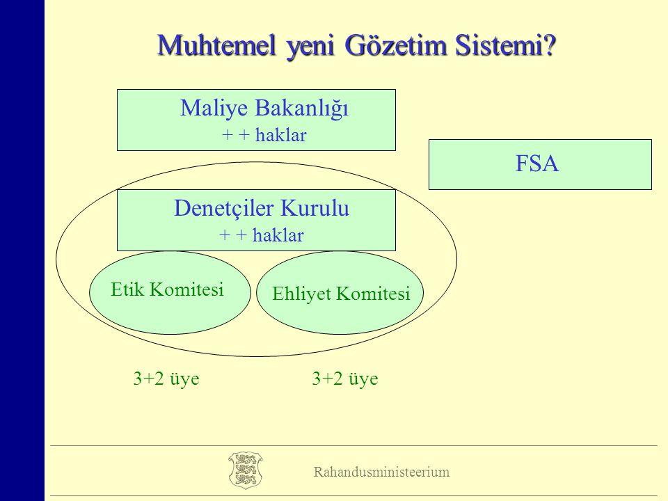 Rahandusministeerium Muhtemel yeni Gözetim Sistemi? Maliye Bakanlığı + + haklar Denetçiler Kurulu + + haklar 3+2 üye FSA Etik Komitesi Ehliyet Komites