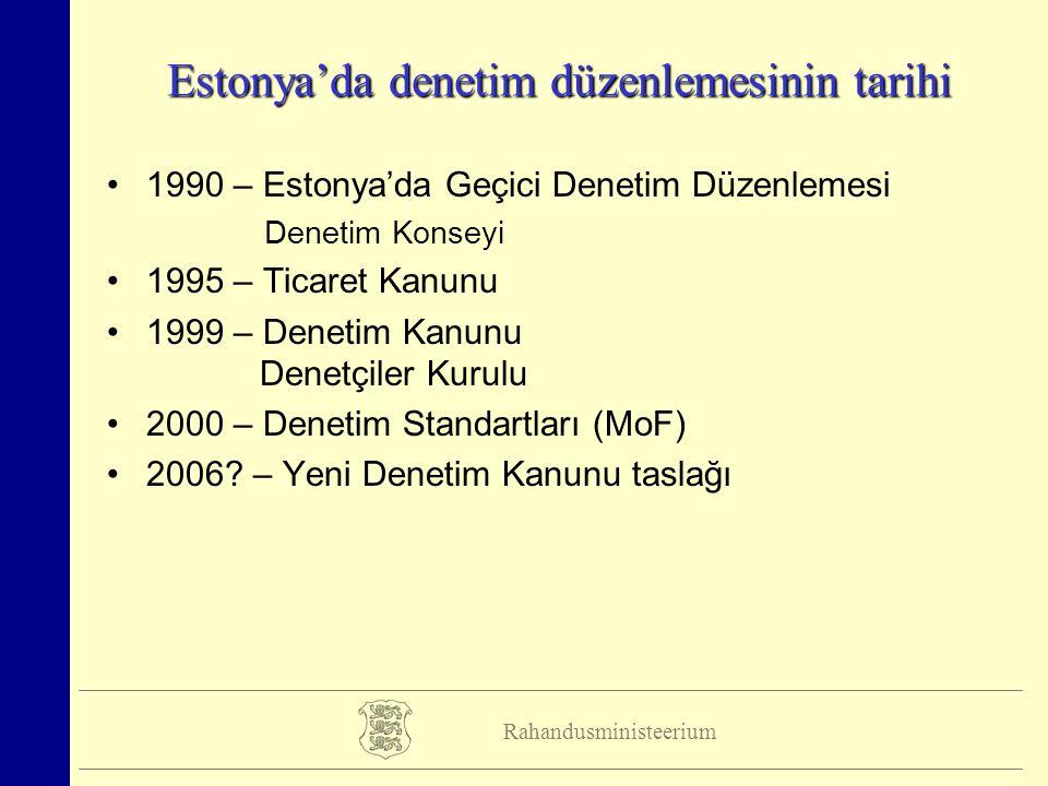 Rahandusministeerium Estonya'da denetim düzenlemesinin tarihi 1990 – Estonya'da Geçici Denetim Düzenlemesi Denetim Konseyi 1995 – Ticaret Kanunu 1999 – Denetim Kanunu Denetçiler Kurulu 2000 – Denetim Standartları (MoF) 2006.
