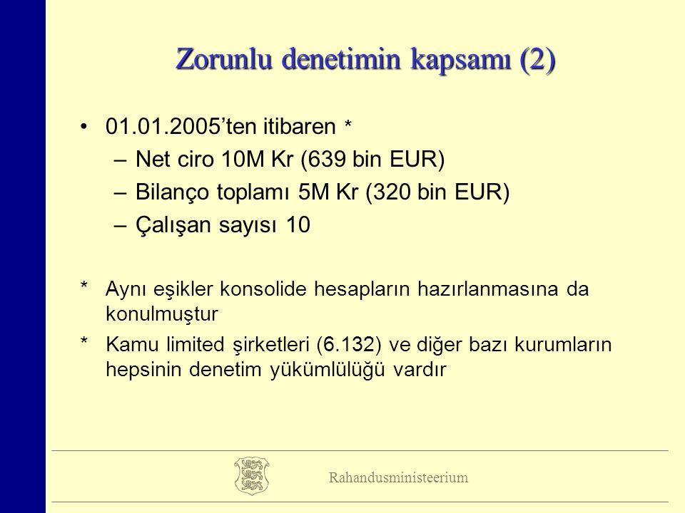 Rahandusministeerium Zorunlu denetimin kapsamı (2) 01.01.2005'ten itibaren * –Net ciro 10M Kr (639 bin EUR) –Bilanço toplamı 5M Kr (320 bin EUR) –Çalışan sayısı 10 *Aynı eşikler konsolide hesapların hazırlanmasına da konulmuştur *Kamu limited şirketleri (6.132) ve diğer bazı kurumların hepsinin denetim yükümlülüğü vardır