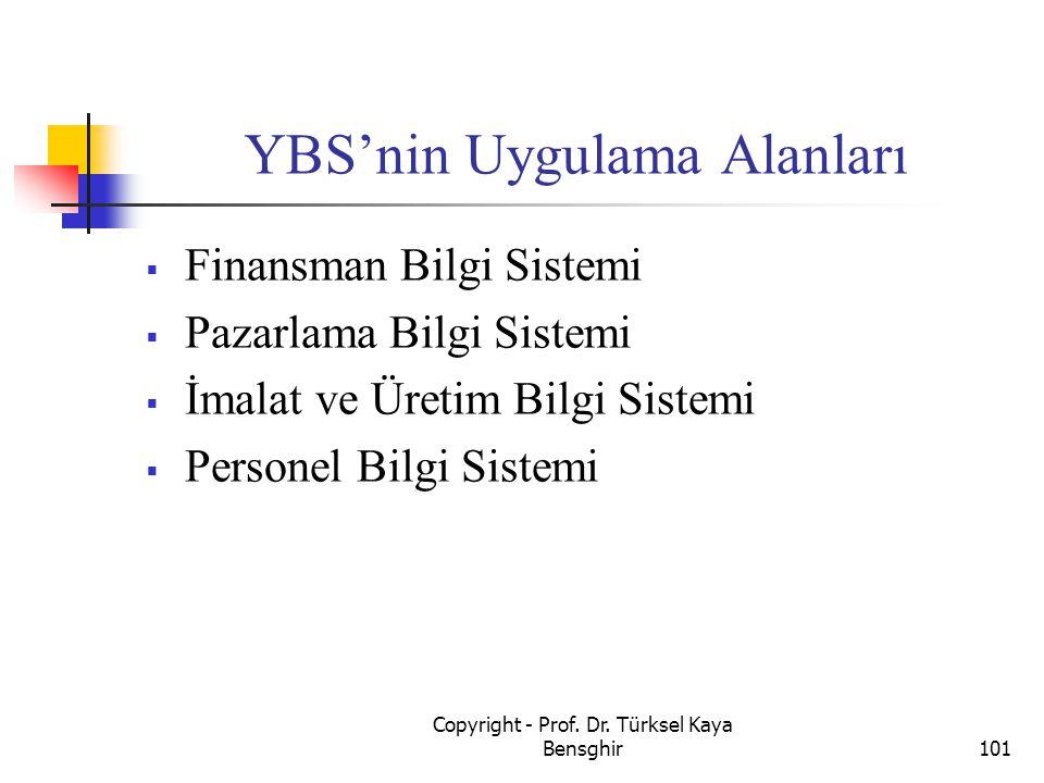 YBS'nin Uygulama Alanları  Finansman Bilgi Sistemi  Pazarlama Bilgi Sistemi  İmalat ve Üretim Bilgi Sistemi  Personel Bilgi Sistemi 101 Copyright