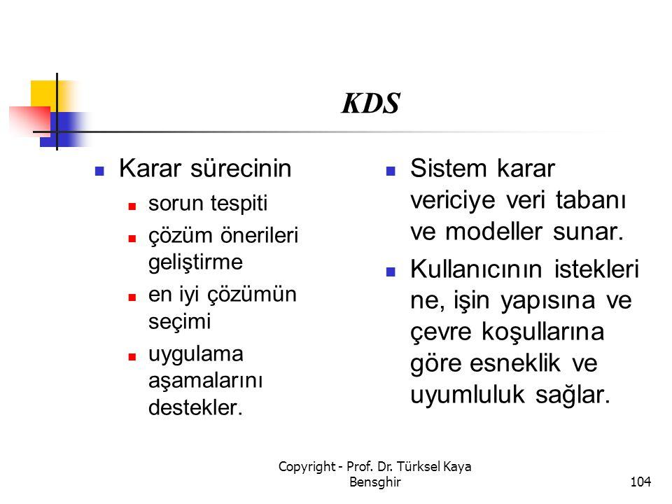 KDS Karar sürecinin sorun tespiti çözüm önerileri geliştirme en iyi çözümün seçimi uygulama aşamalarını destekler. Sistem karar vericiye veri tabanı v