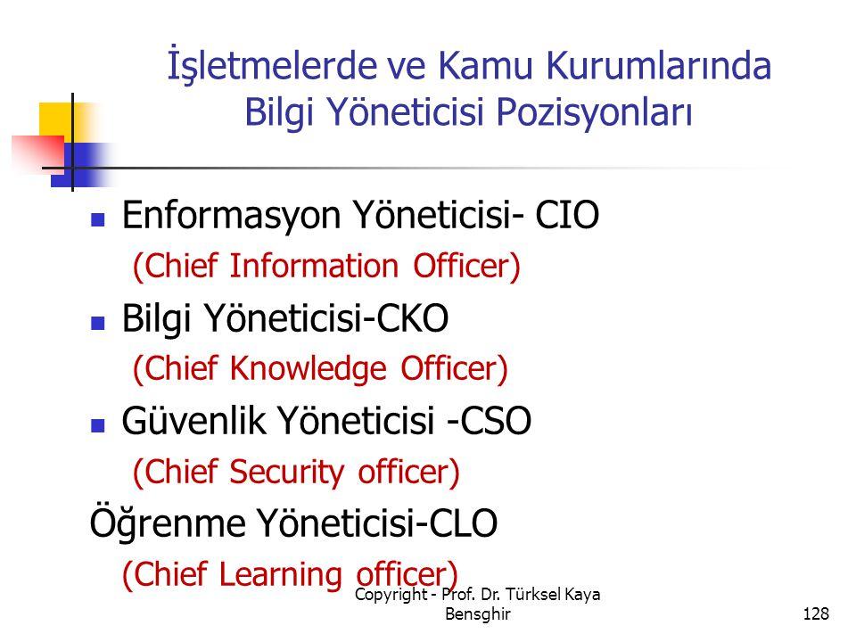 İşletmelerde ve Kamu Kurumlarında Bilgi Yöneticisi Pozisyonları Enformasyon Yöneticisi- CIO (Chief Information Officer) Bilgi Yöneticisi-CKO (Chief Kn