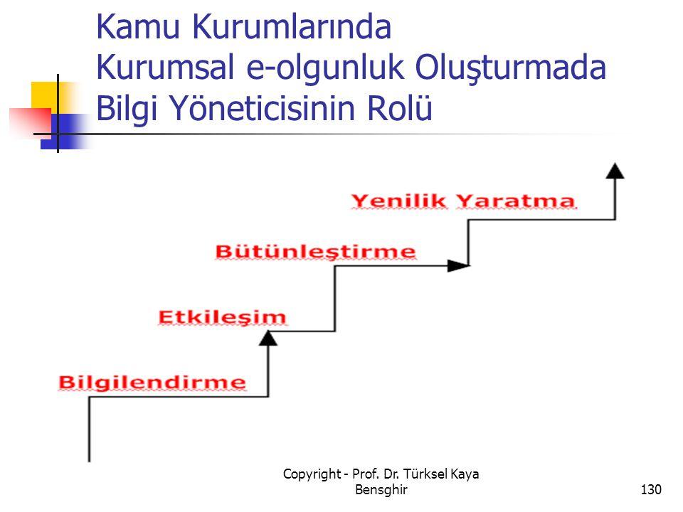Kamu Kurumlarında Kurumsal e-olgunluk Oluşturmada Bilgi Yöneticisinin Rolü 130 Copyright - Prof. Dr. Türksel Kaya Bensghir