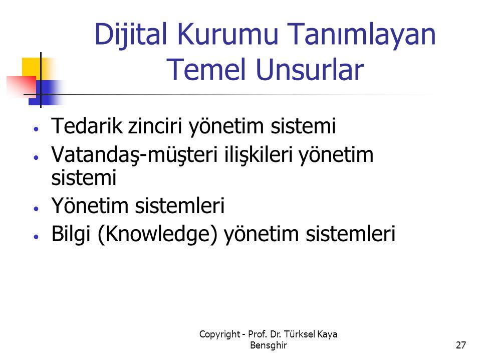 Dijital Kurumu Tanımlayan Temel Unsurlar Tedarik zinciri yönetim sistemi Vatandaş-müşteri ilişkileri yönetim sistemi Yönetim sistemleri Bilgi (Knowled