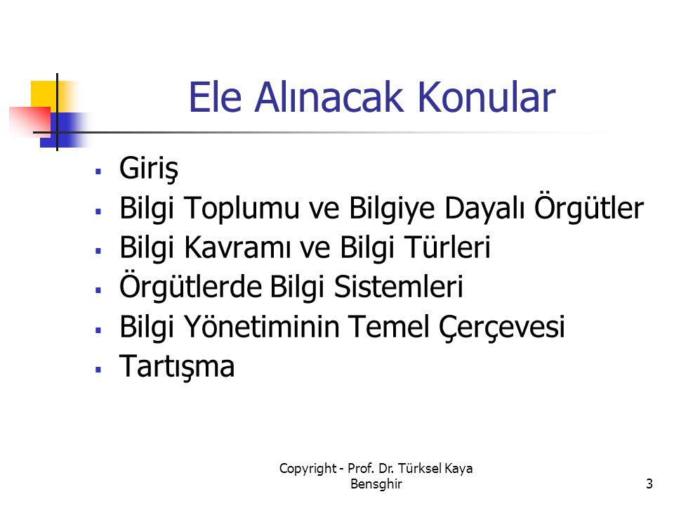 Bilgi Yönetim Çatısı 134 Copyright - Prof. Dr. Türksel Kaya Bensghir