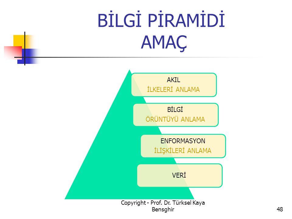 BİLGİ PİRAMİDİ AMAÇ Copyright - Prof. Dr. Türksel Kaya Bensghir48 AKIL İLKELERİ ANLAMA ENFORMASYON İLİŞKİLERİ ANLAMA VERİ BİLGİ ÖRÜNTÜYÜ ANLAMA