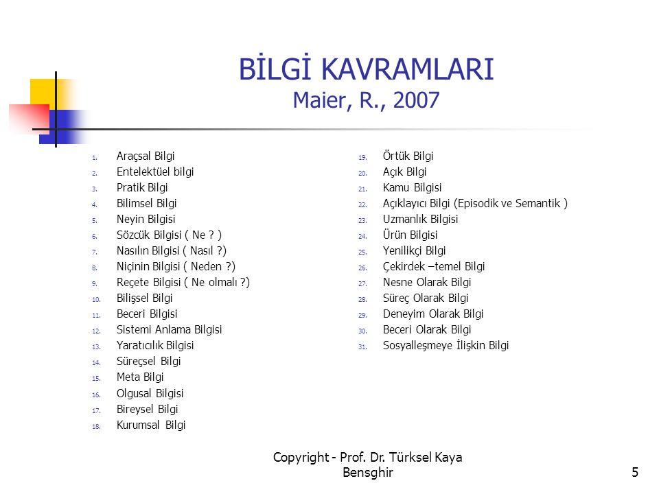 BİLGİ KAVRAMLARI Maier, R., 2007 1. Araçsal Bilgi 2. Entelektüel bilgi 3. Pratik Bilgi 4. Bilimsel Bilgi 5. Neyin Bilgisi 6. Sözcük Bilgisi ( Ne ? ) 7