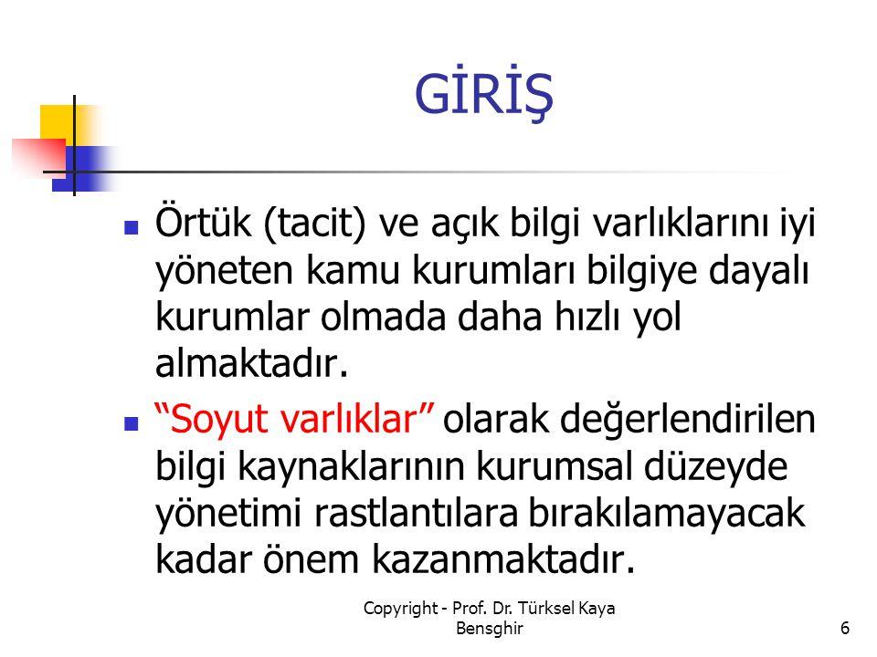 BİLGİ YÖNETİM EKİBİ 127 Copyright - Prof. Dr. Türksel Kaya Bensghir