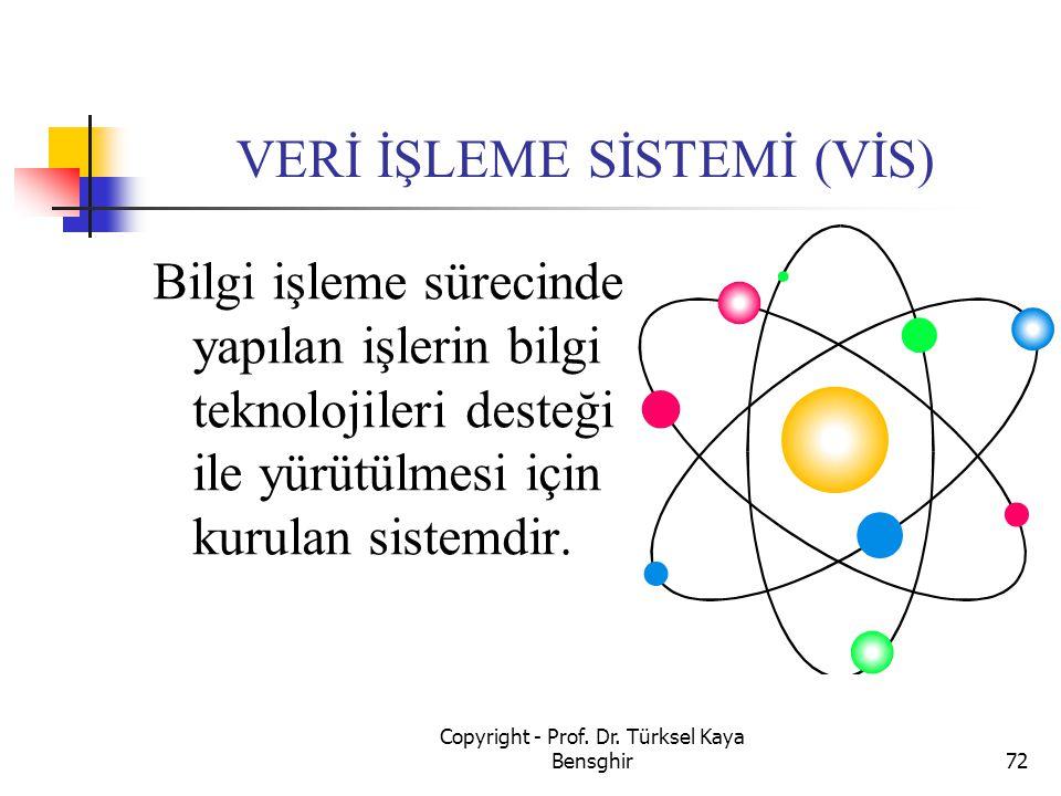 VERİ İŞLEME SİSTEMİ (VİS) Bilgi işleme sürecinde yapılan işlerin bilgi teknolojileri desteği ile yürütülmesi için kurulan sistemdir. 72 Copyright - Pr