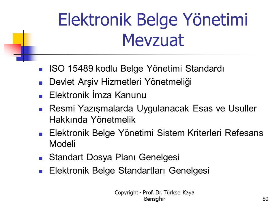 Elektronik Belge Yönetimi Mevzuat ISO 15489 kodlu Belge Yönetimi Standardı Devlet Arşiv Hizmetleri Yönetmeliği Elektronik İmza Kanunu Resmi Yazışmalar