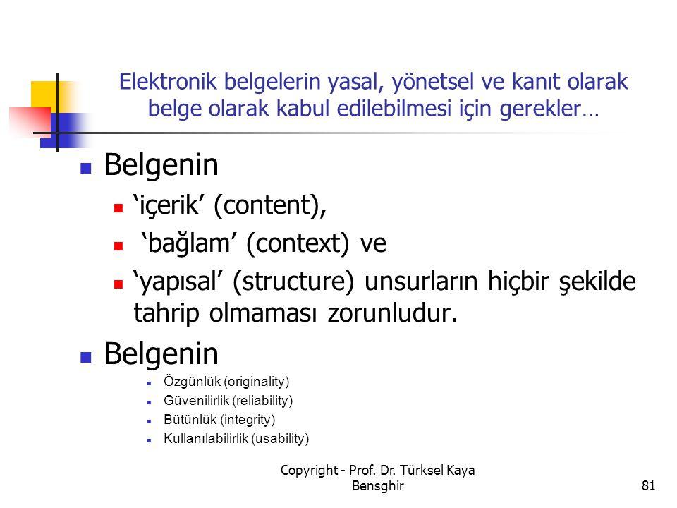 Elektronik belgelerin yasal, yönetsel ve kanıt olarak belge olarak kabul edilebilmesi için gerekler… Belgenin 'içerik' (content), 'bağlam' (context) v