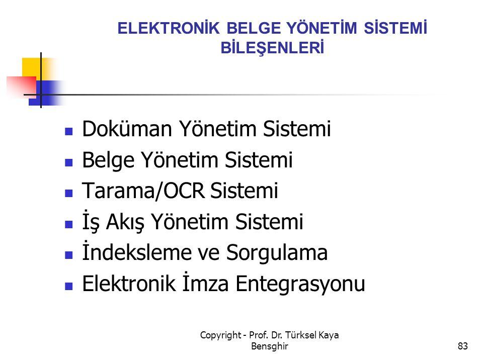 ELEKTRONİK BELGE YÖNETİM SİSTEMİ BİLEŞENLERİ Doküman Yönetim Sistemi Belge Yönetim Sistemi Tarama/OCR Sistemi İş Akış Yönetim Sistemi İndeksleme ve So