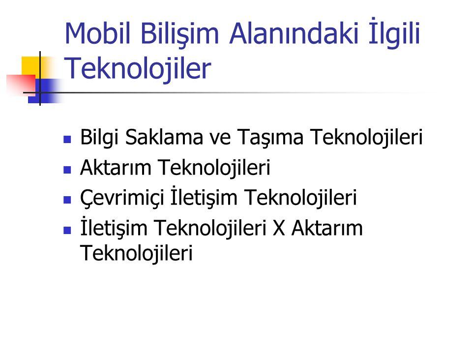 Mobil Bilişim Alanındaki İlgili Teknolojiler Bilgi Saklama ve Taşıma Teknolojileri Aktarım Teknolojileri Çevrimiçi İletişim Teknolojileri İletişim Teknolojileri X Aktarım Teknolojileri