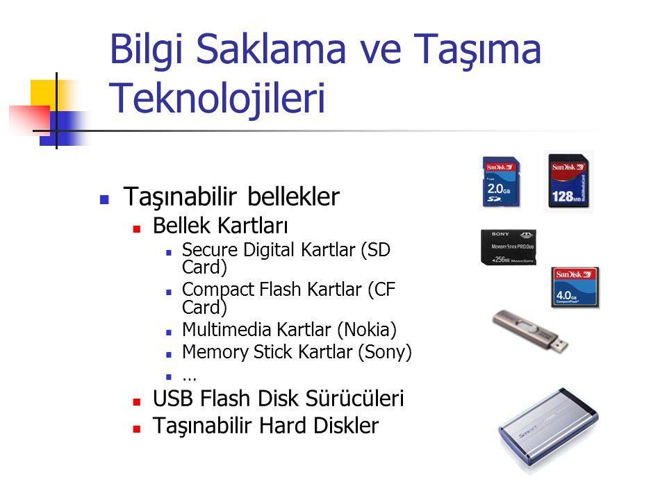 Bilgi Saklama ve Taşıma Teknolojileri Taşınabilir bellekler Bellek Kartları Secure Digital Kartlar (SD Card) Compact Flash Kartlar (CF Card) Multimedia Kartlar (Nokia) Memory Stick Kartlar (Sony) … USB Flash Disk Sürücüleri Taşınabilir Hard Diskler