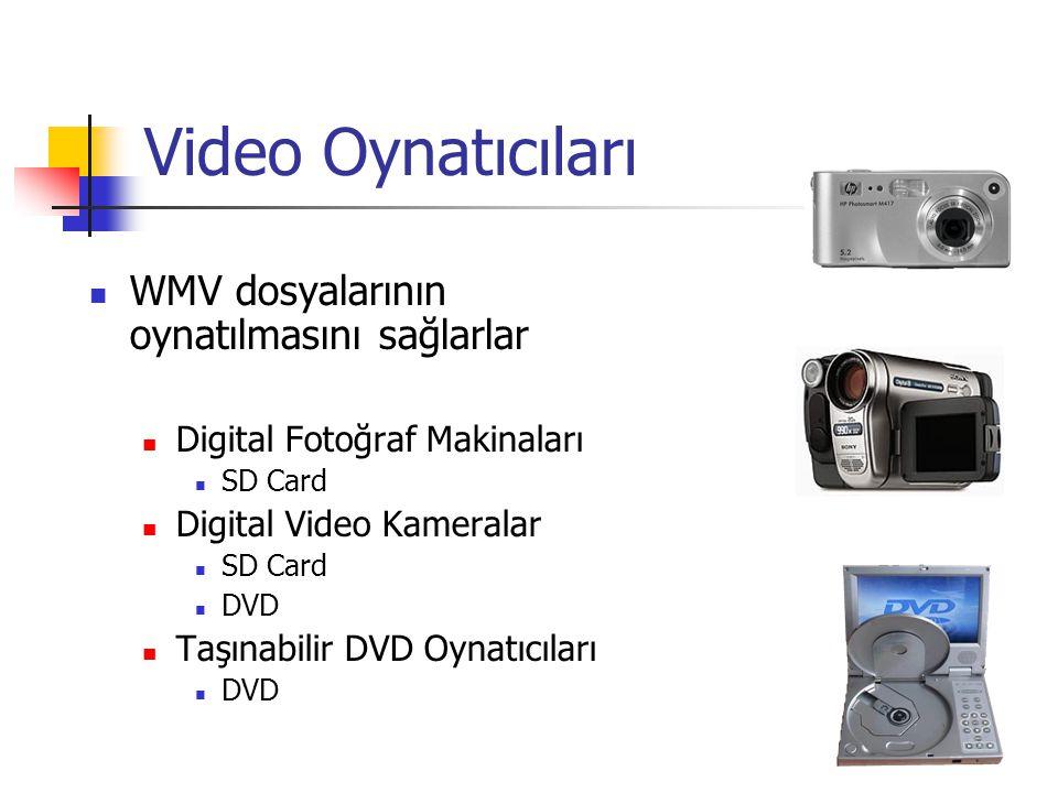 Video Oynatıcıları WMV dosyalarının oynatılmasını sağlarlar Digital Fotoğraf Makinaları SD Card Digital Video Kameralar SD Card DVD Taşınabilir DVD Oynatıcıları DVD