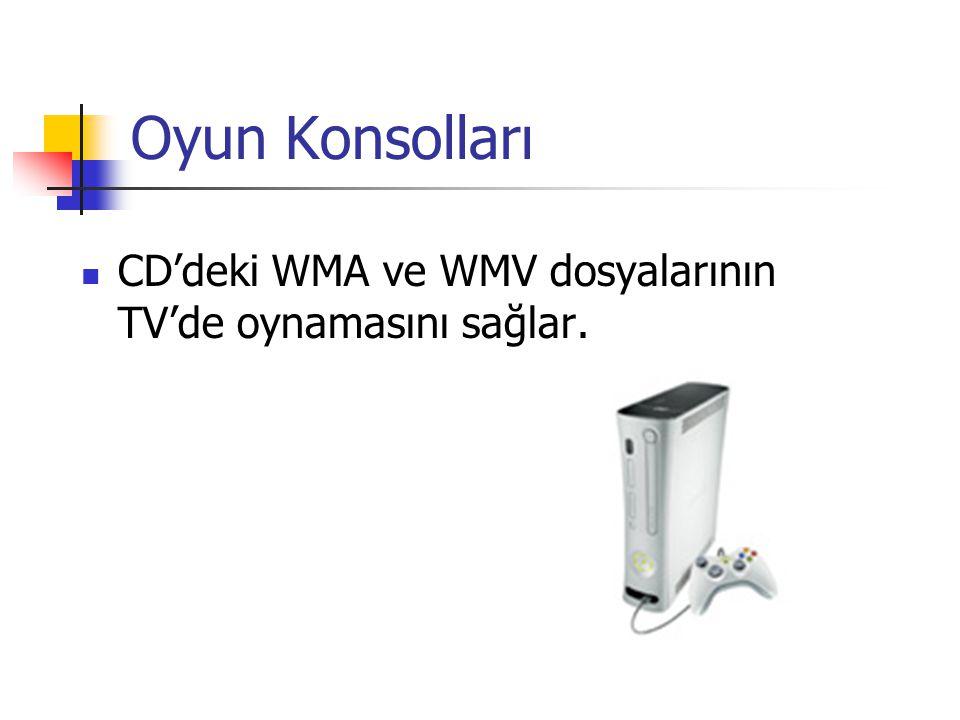 Oyun Konsolları CD'deki WMA ve WMV dosyalarının TV'de oynamasını sağlar.