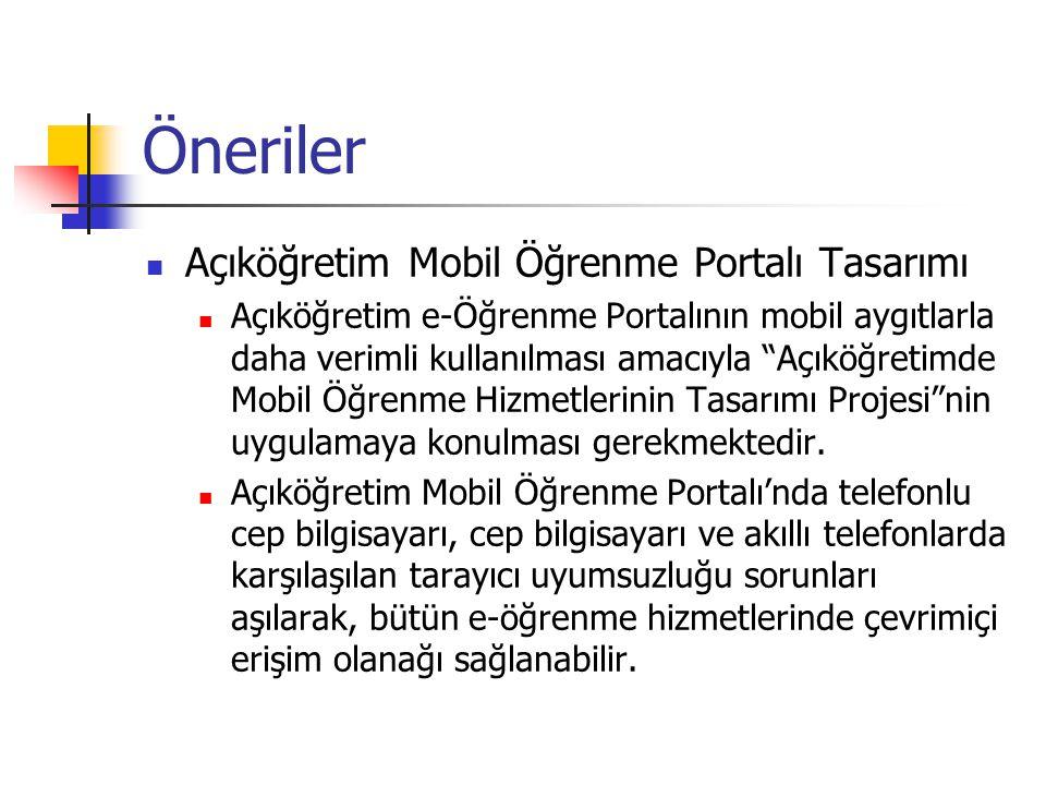 Öneriler Açıköğretim Mobil Öğrenme Portalı Tasarımı Açıköğretim e-Öğrenme Portalının mobil aygıtlarla daha verimli kullanılması amacıyla Açıköğretimde Mobil Öğrenme Hizmetlerinin Tasarımı Projesi nin uygulamaya konulması gerekmektedir.