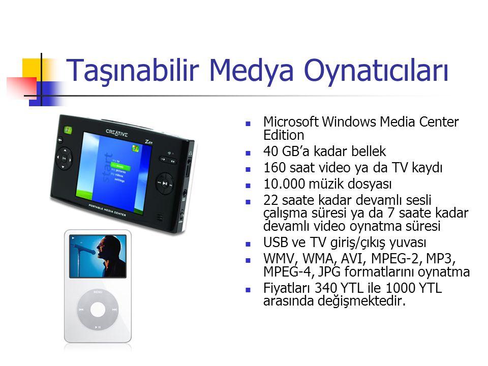 Taşınabilir Medya Oynatıcıları Microsoft Windows Media Center Edition 40 GB'a kadar bellek 160 saat video ya da TV kaydı 10.000 müzik dosyası 22 saate kadar devamlı sesli çalışma süresi ya da 7 saate kadar devamlı video oynatma süresi USB ve TV giriş/çıkış yuvası WMV, WMA, AVI, MPEG-2, MP3, MPEG-4, JPG formatlarını oynatma Fiyatları 340 YTL ile 1000 YTL arasında değişmektedir.