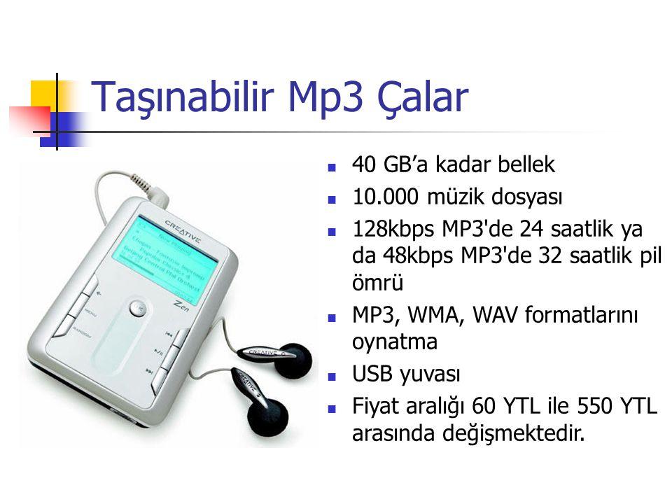 Taşınabilir Mp3 Çalar 40 GB'a kadar bellek 10.000 müzik dosyası 128kbps MP3 de 24 saatlik ya da 48kbps MP3 de 32 saatlik pil ömrü MP3, WMA, WAV formatlarını oynatma USB yuvası Fiyat aralığı 60 YTL ile 550 YTL arasında değişmektedir.