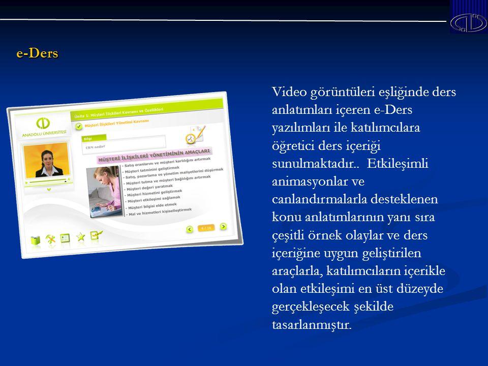 e-Ders Video görüntüleri eşliğinde ders anlatımları içeren e-Ders yazılımları ile katılımcılara öğretici ders içeriği sunulmaktadır..