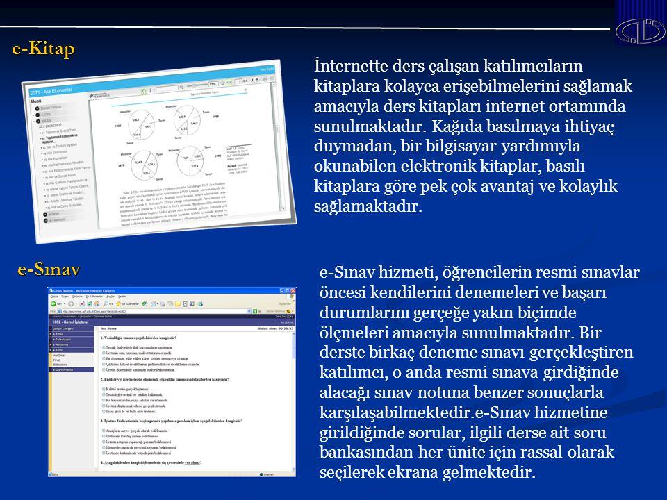e-Kitap İnternette ders çalışan katılımcıların kitaplara kolayca erişebilmelerini sağlamak amacıyla ders kitapları internet ortamında sunulmaktadır.