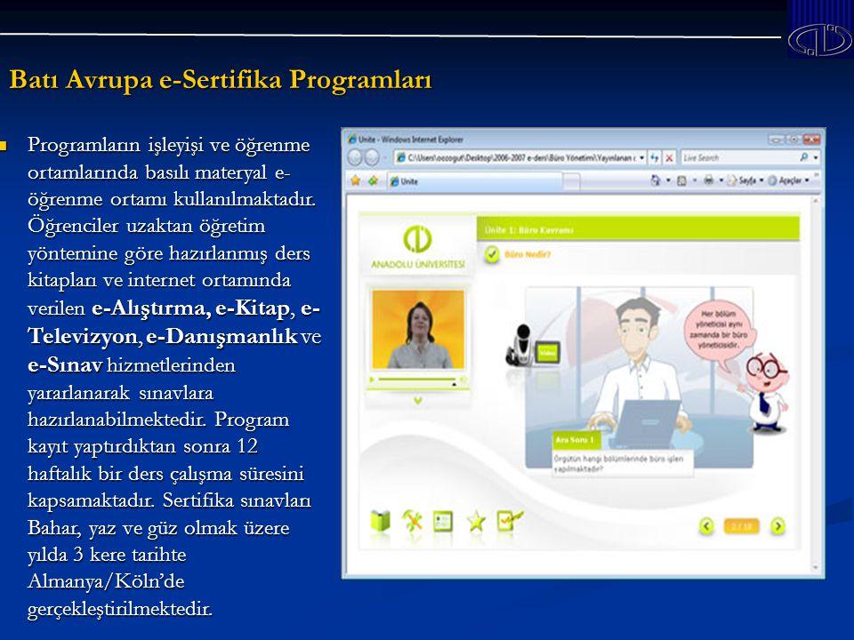 Batı Avrupa e-Sertifika Programları Programların işleyişi ve öğrenme ortamlarında basılı materyal e- öğrenme ortamı kullanılmaktadır.