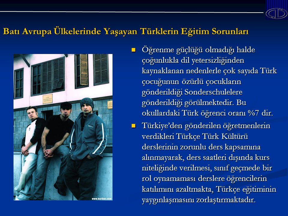 Batı Avrupa Ülkelerinde Yaşayan Türklerin Eğitim Sorunları Öğrenme güçlüğü olmadığı halde çoğunlukla dil yetersizliğinden kaynaklanan nedenlerle çok sayıda Türk çocuğunun özürlü çocukların gönderildiği Sonderschulelere gönderildiği görülmektedir.