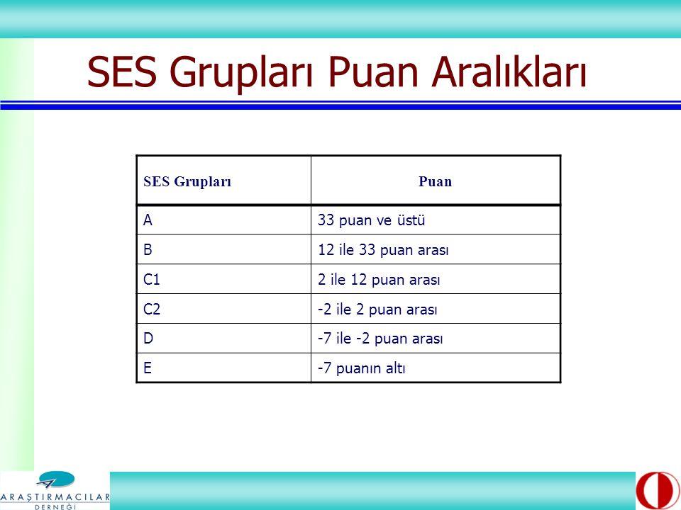 SES Grupları Puan Aralıkları SES GruplarıPuan A33 puan ve üstü B12 ile 33 puan arası C12 ile 12 puan arası C2-2 ile 2 puan arası D-7 ile -2 puan arası E-7 puanın altı