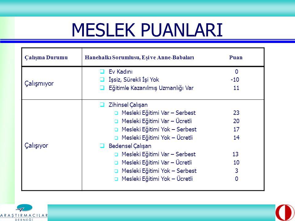 MESLEK PUANLARI Çalışma DurumuHanehalkı Sorumlusu, Eşi ve Anne-Babaları Puan Çalışmıyor  Ev Kadını 0  İşsiz, Sürekli İşi Yok -10  Eğitimle Kazanılmış Uzmanlığı Var 11 Çalışıyor  Zihinsel Çalışan  Mesleki Eğitimi Var – Serbest 23  Mesleki Eğitimi Var – Ücretli 20  Mesleki Eğitimi Yok – Serbest 17  Mesleki Eğitimi Yok – Ücretli 14  Bedensel Çalışan  Mesleki Eğitimi Var – Serbest 13  Mesleki Eğitimi Var – Ücretli 10  Mesleki Eğitimi Yok – Serbest 3  Mesleki Eğitimi Yok – Ücretli 0