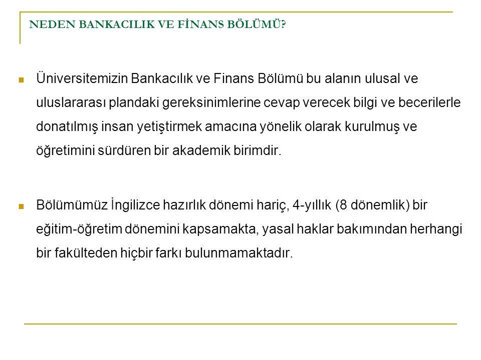 NEDEN BANKACILIK VE FİNANS BÖLÜMÜ? Üniversitemizin Bankacılık ve Finans Bölümü bu alanın ulusal ve uluslararası plandaki gereksinimlerine cevap verece