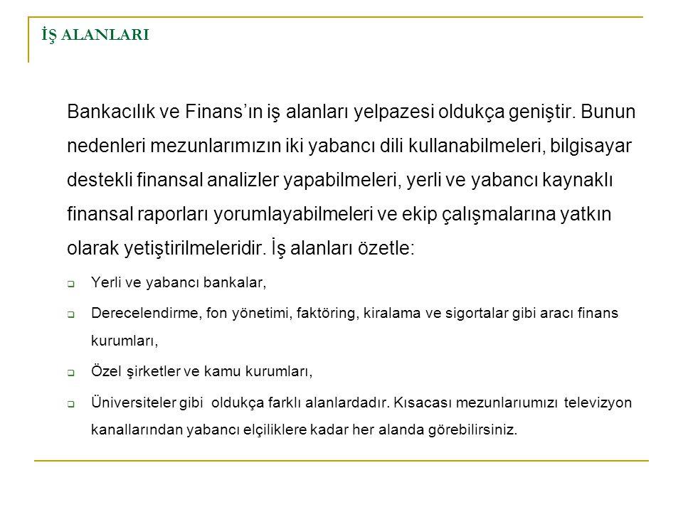İŞ ALANLARI Bankacılık ve Finans'ın iş alanları yelpazesi oldukça geniştir. Bunun nedenleri mezunlarımızın iki yabancı dili kullanabilmeleri, bilgisay