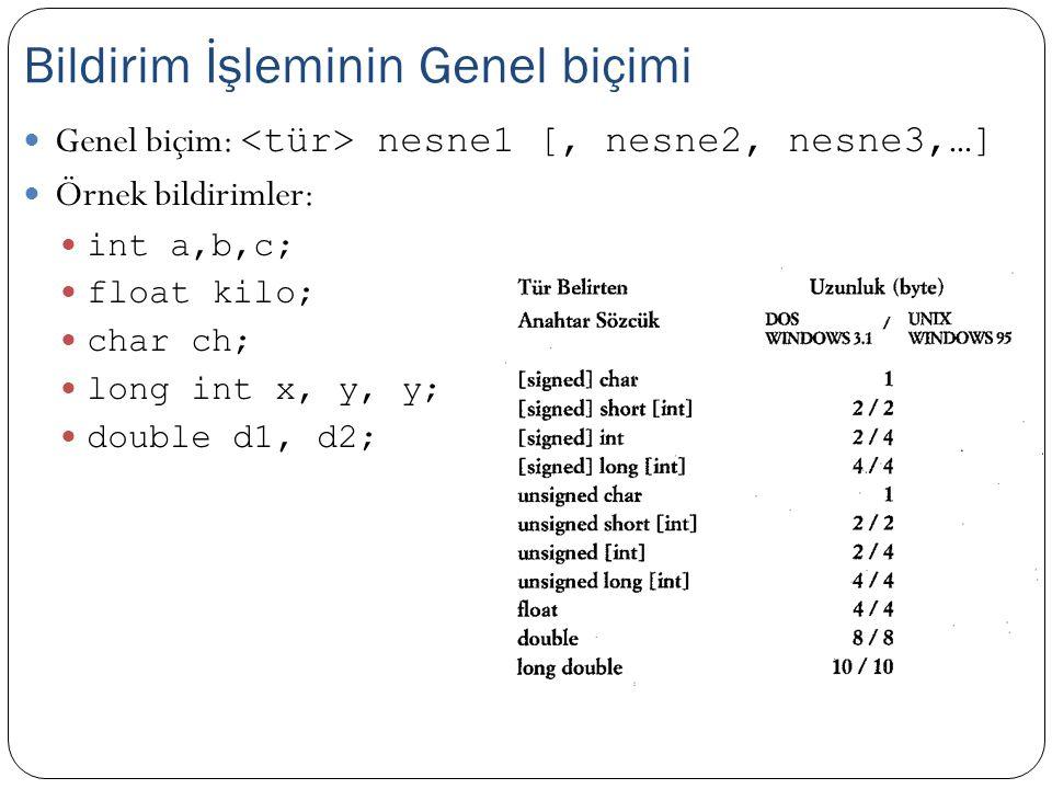 Genel biçim: nesne1 [, nesne2, nesne3,…] Örnek bildirimler: int a,b,c; float kilo; char ch; long int x, y, y; double d1, d2; Bildirim İşleminin Genel biçimi
