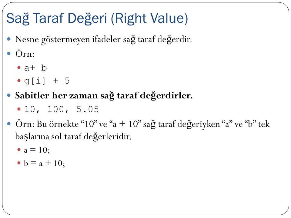 "Nesne göstermeyen ifadeler sa ğ taraf de ğ erdir. Örn: a+ b g[i] + 5 Sabitler her zaman sa ğ taraf de ğ erdirler. 10, 100, 5.05 Örn: Bu örnekte ""10"" v"
