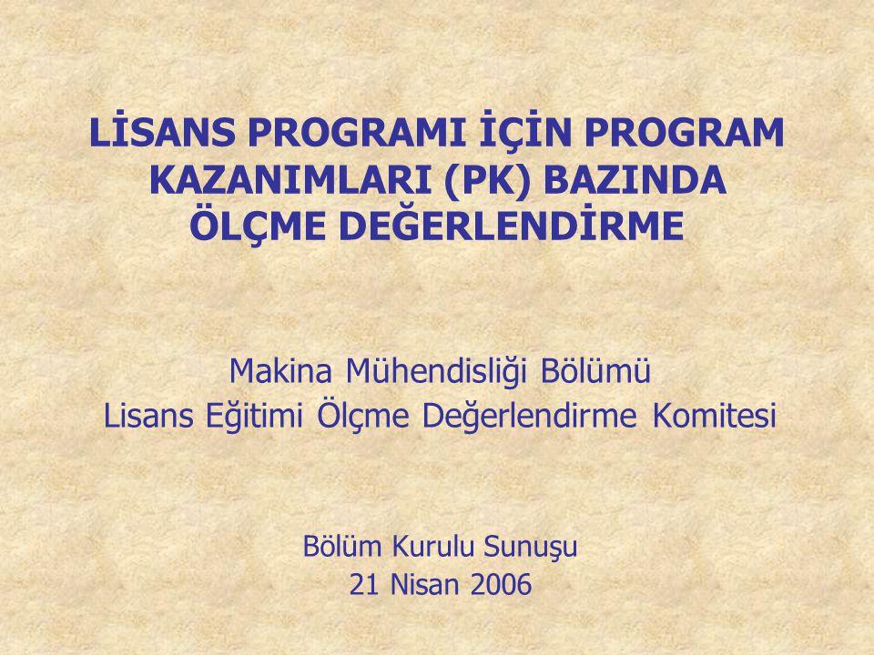 LİSANS PROGRAMI İÇİN PROGRAM KAZANIMLARI (PK) BAZINDA ÖLÇME DEĞERLENDİRME Makina Mühendisliği Bölümü Lisans Eğitimi Ölçme Değerlendirme Komitesi Bölüm