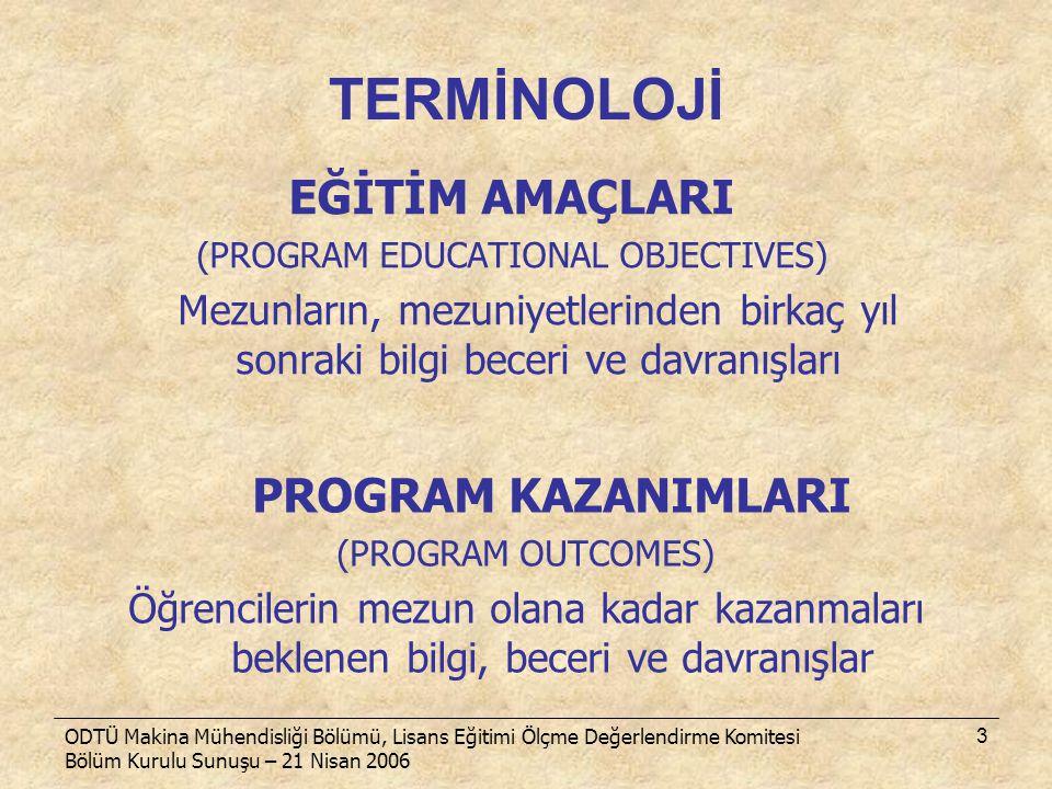 ODTÜ Makina Mühendisliği Bölümü, Lisans Eğitimi Ölçme Değerlendirme Komitesi Bölüm Kurulu Sunuşu – 21 Nisan 2006 3 TERMİNOLOJİ EĞİTİM AMAÇLARI (PROGRA