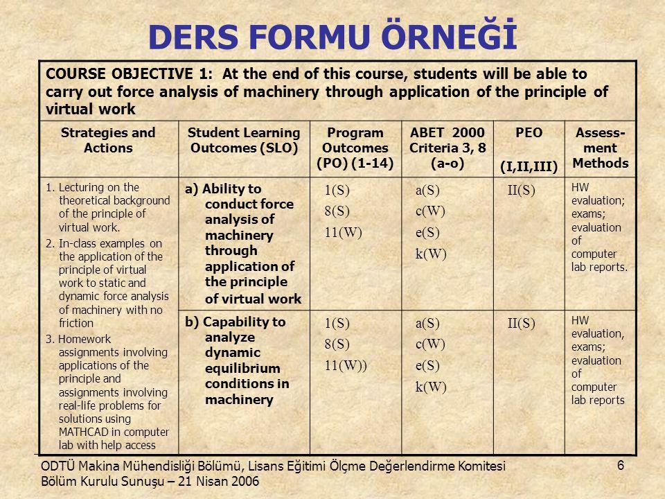 ODTÜ Makina Mühendisliği Bölümü, Lisans Eğitimi Ölçme Değerlendirme Komitesi Bölüm Kurulu Sunuşu – 21 Nisan 2006 6 DERS FORMU ÖRNEĞİ COURSE OBJECTIVE