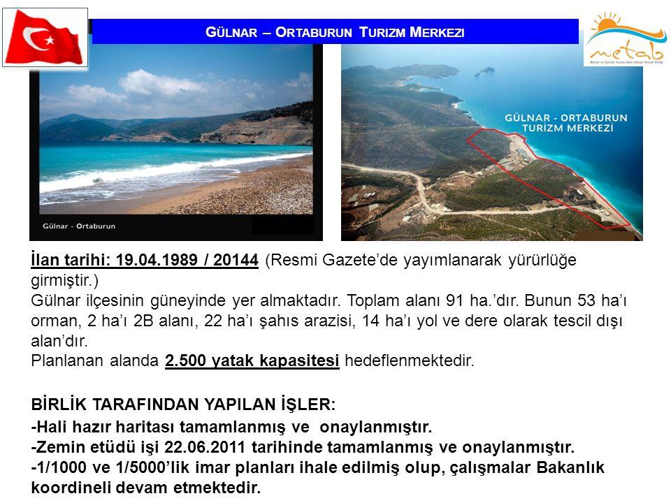 G ÜLNAR – O RTABURUN T URIZM M ERKEZI İlan tarihi: 19.04.1989 / 20144 (Resmi Gazete'de yayımlanarak yürürlüğe girmiştir.) Gülnar ilçesinin güneyinde y