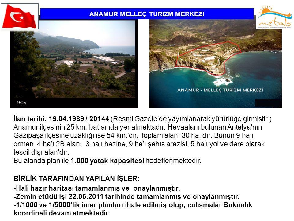 ANAMUR MELLEÇ TURIZM MERKEZI İlan tarihi: 19.04.1989 / 20144 (Resmi Gazete'de yayımlanarak yürürlüğe girmiştir.) Anamur ilçesinin 25 km. batısında yer