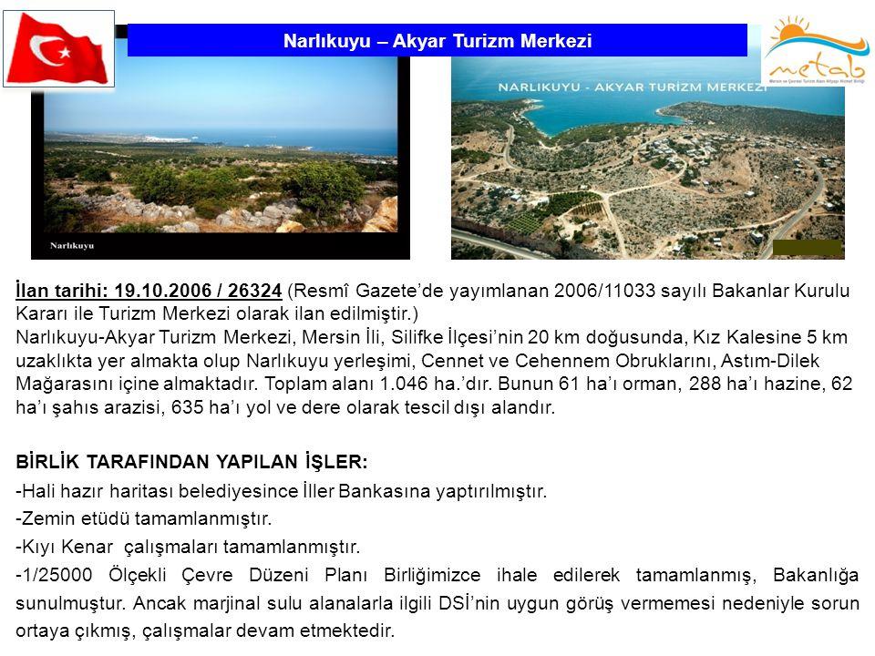 Narlıkuyu – Akyar Turizm Merkezi İlan tarihi: 19.10.2006 / 26324 (Resmî Gazete'de yayımlanan 2006/11033 sayılı Bakanlar Kurulu Kararı ile Turizm Merke