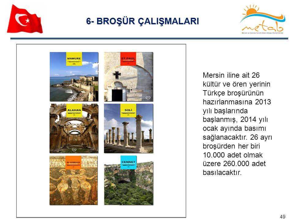 6- BROŞÜR ÇALIŞMALARI 49 Mersin iline ait 26 kültür ve ören yerinin Türkçe broşürünün hazırlanmasına 2013 yılı başlarında başlanmış, 2014 yılı ocak ay