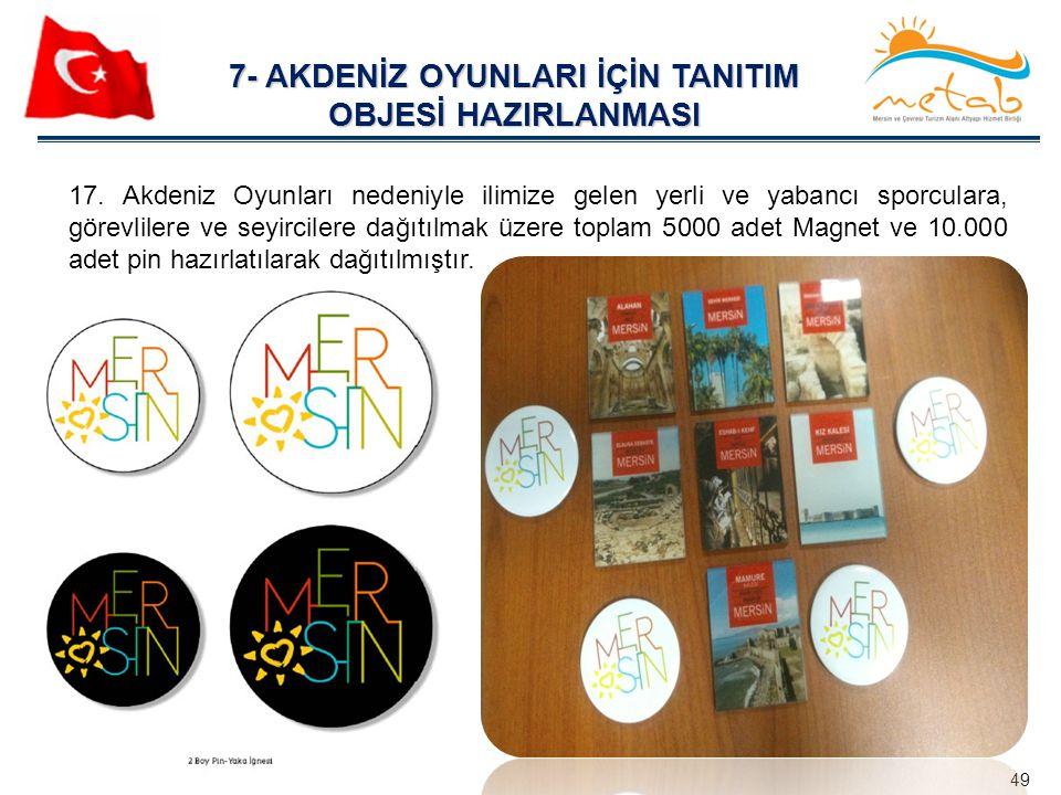 7- AKDENİZ OYUNLARI İÇİN TANITIM OBJESİ HAZIRLANMASI 49 17. Akdeniz Oyunları nedeniyle ilimize gelen yerli ve yabancı sporculara, görevlilere ve seyir